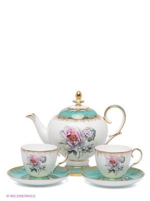 Чайный набор Цветок Неаполя Pavone. Цвет: белый, зеленый