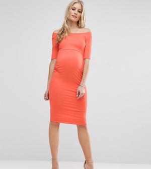ASOS Maternity Платье бардо для беременных с укороченными рукавами TAL. Цвет: оранжевый