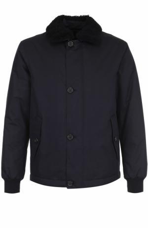 Куртка с меховой отделкой на воротнике Z Zegna. Цвет: темно-синий