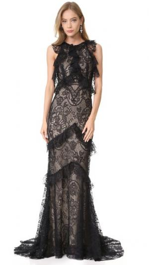 Вечернее платье без рукавов с оборками Monique Lhuillier. Цвет: голубой