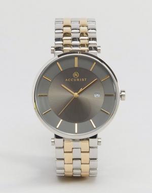 Accurist Наручные часы из смешанных металлов с серым циферблатом. Цвет: золотой