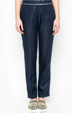 Льняные синие брюки прямого кроя Barbour. Цвет: синий