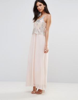 Club L Платье макси с пайетками. Цвет: розовый