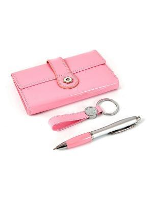 Подарочный набор: бумажник, ручка, брелок 22*20*5см Русские подарки. Цвет: бледно-розовый