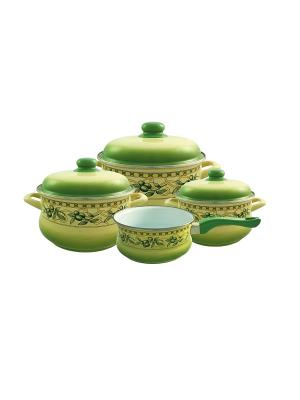 Набор посуды 7 предметов (2,0л, 3,5л, 5,5л + ковш 1,5л в подарок), мет.крышки METROT. Цвет: зеленый