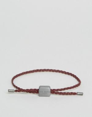 Ted Baker Красный плетеный кожаный браслет. Цвет: красный
