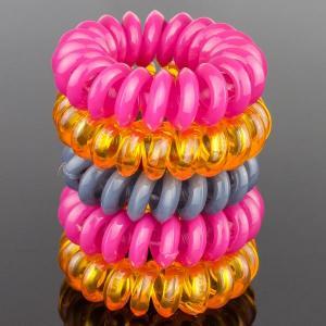 Комплект Резинок-Пружинок для волос 5 шт/уп, арт. РПВ-330 Бусики-Колечки. Цвет: розовый