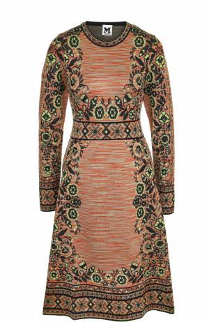 Приталенное платье-миди с длинным рукавом M Missoni. Цвет: разноцветный