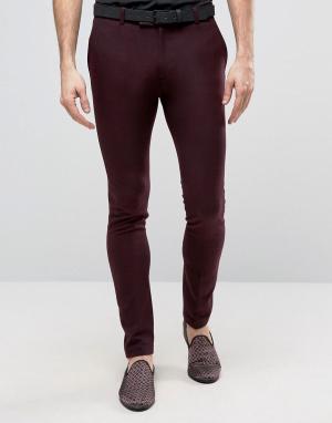 ASOS Бордовые супероблегающие брюки в строгом стиле. Цвет: красный