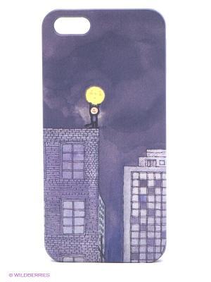 Чехол для IPhone 5 Мальчик и Луна Mitya Veselkov. Цвет: фиолетовый, белый