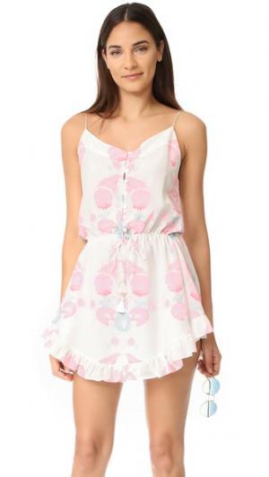 Короткое платье Twilights Love с цветочным принтом и тонкими бретельками Athena Procopiou. Цвет: розовый/белый