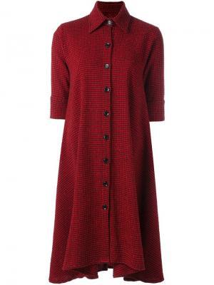 Свободное платье-рубашка в клетку Ultràchic. Цвет: красный