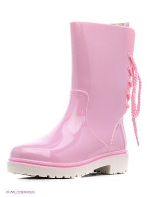 Резиновые сапоги KEDDO. Цвет: розовый, бежевый