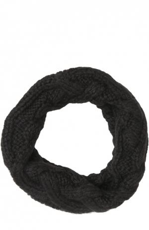 Шерстяной шарф-снуд крупной вязки Eugenia Kim. Цвет: черный