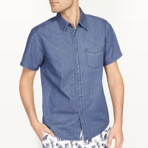 Рубашка джинсовая прямого покроя La Redoute Collections. Цвет: синий выбеленный,синий потертый