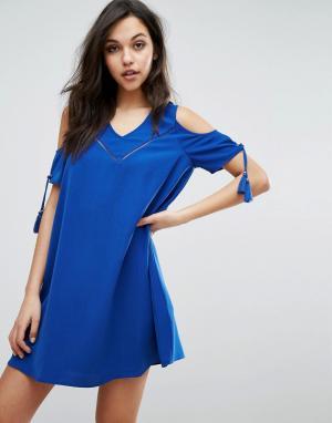 Supertrash Платье с открытыми плечами Dado. Цвет: синий
