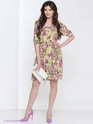 Платье Культ платья BRACEGIRDLE. Цвет: салатовый, розовый