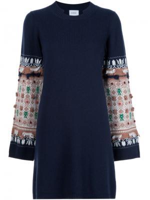 Трикотажное платье с узорами на рукавах Barrie. Цвет: синий