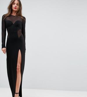 Taller Than Your Average Облегающее платье макси с корсетной отделкой и сетчатыми вставками TTY. Цвет: черный