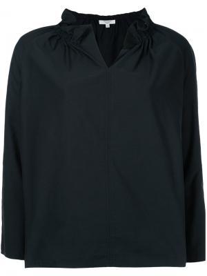 Блузка с оборками на воротнике Atlantique Ascoli. Цвет: чёрный