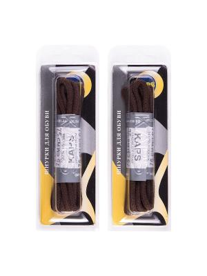 Шнурки вощеные средние 75 см. 2 пары KAPS. Цвет: коричневый