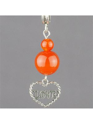Кулон-оберег со шнурком На любовь сердолик Колечки. Цвет: оранжевый
