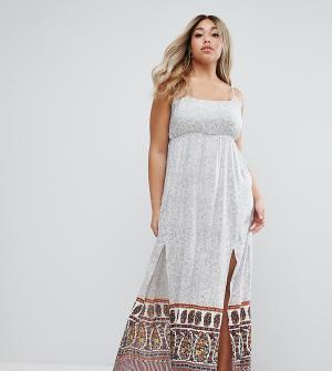 Diya Платье макси с разрезами Plus. Цвет: мульти