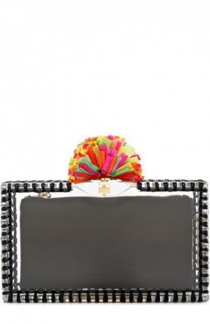 Клатч Pom Pandora с отделкой из рафии Charlotte Olympia. Цвет: разноцветный