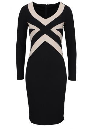 Платье MY STYLE. Цвет: черный (бежево-черный)