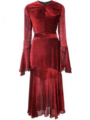 Платье с вырезом замочная скважина Prabal Gurung. Цвет: красный