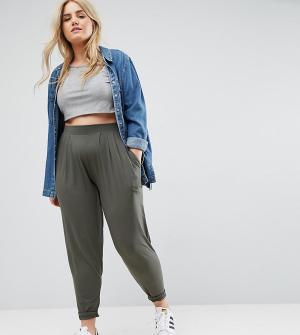 ASOS Curve Трикотажные брюки‑галифе. Цвет: зеленый