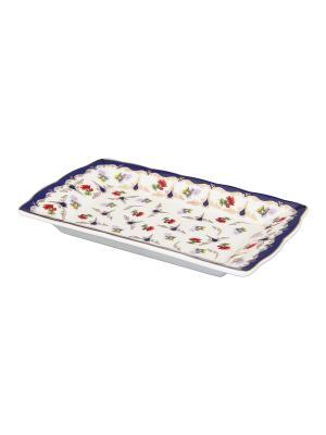 Тарелка под масло Цветочек Elan Gallery. Цвет: синий, белый, красный