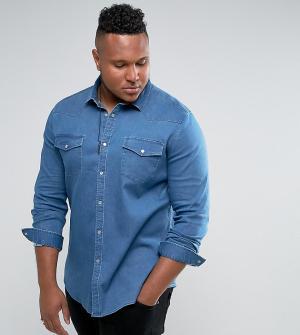 ASOS Эластичная джинсовая рубашка приталенного кроя в стиле вестерн PL. Цвет: синий