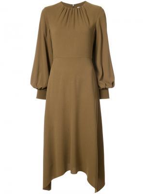 Платье с асимметричным подолом Tibi. Цвет: зелёный