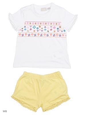 Комплект: футболка и шорты CHICCO. Цвет: белый, желтый
