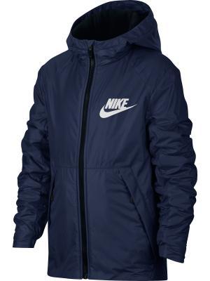 Куртка B NSW JKT HD FLEECE LINED Nike. Цвет: синий