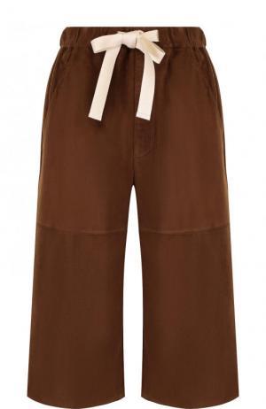 Укороченные замшевые брюки с эластичным поясом Loewe. Цвет: коричневый