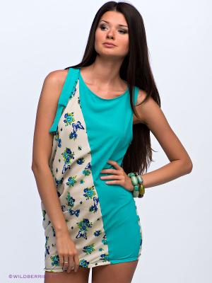 Платье-туника Alphamoda. Цвет: бирюзовый, молочный