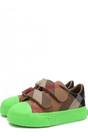 Текстильные кеды с застежками велькро на контрастной подошве Burberry. Цвет: зеленый