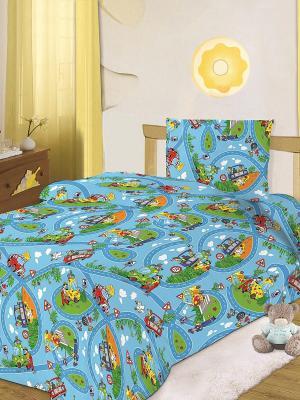 Комплект постельного белья 1,5 бязь Кошки-мышки. Цвет: синий