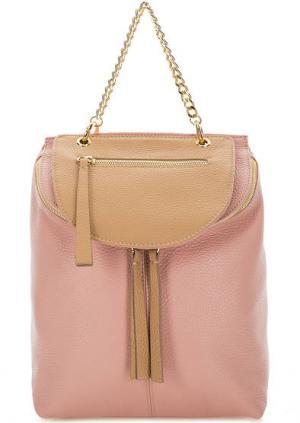Кожаный рюкзак со съемным карманом Bruno Rossi. Цвет: розовый
