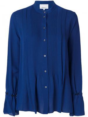 Плиссированная рубашка с длинными рукавами 3.1 Phillip Lim. Цвет: синий