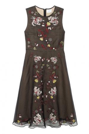 Шелковое платье Mackenzie Erdem. Цвет: черный, разноцветный