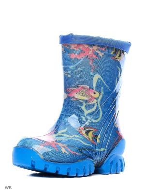 Резиновые сапоги Зебра. Цвет: синий