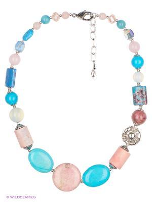 Колье Роман с камнем. Цвет: белый, голубой, розовый