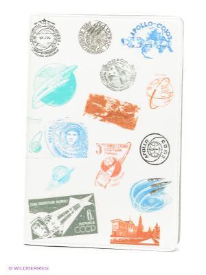 Визитница Штампики о космосе Mitya Veselkov. Цвет: белый, голубой, красный