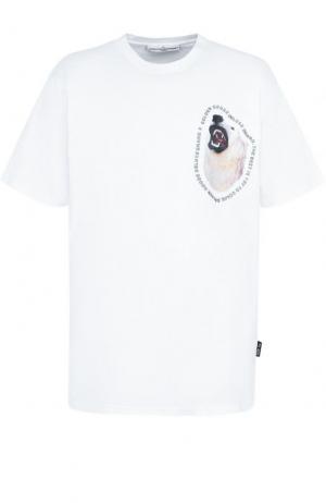 Хлопковая футболка с принтом Golden Goose Deluxe Brand. Цвет: белый