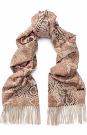 Кашемировый шарф с принтом и бахромой Franco Ferrari. Цвет: бежевый