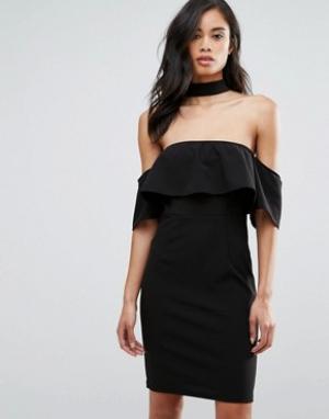 Parisian Платье с открытыми плечами и чокером. Цвет: черный