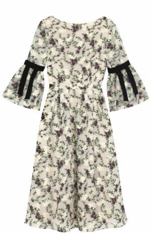 Приталенное платье-миди с цветочным принтом Erdem. Цвет: разноцветный